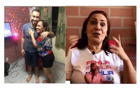 O economista mora em Janga, município de Pernambuco. Na foto, ele e a mãe, Jacira, na sala com TV e luz de discoteca Reprodução