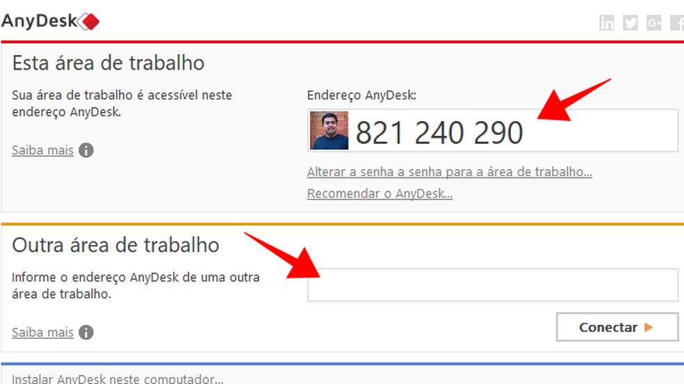 Informe o código do AnyDesk para outra pessoa ou insira um para acessar um PC — Foto: Reprodução/Paulo Alves