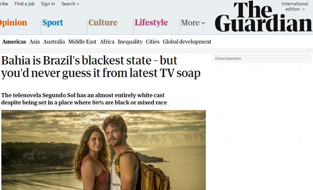 Reportagem de 'Segundo Sol' no 'The Guardian' (Foto: Reprodução)