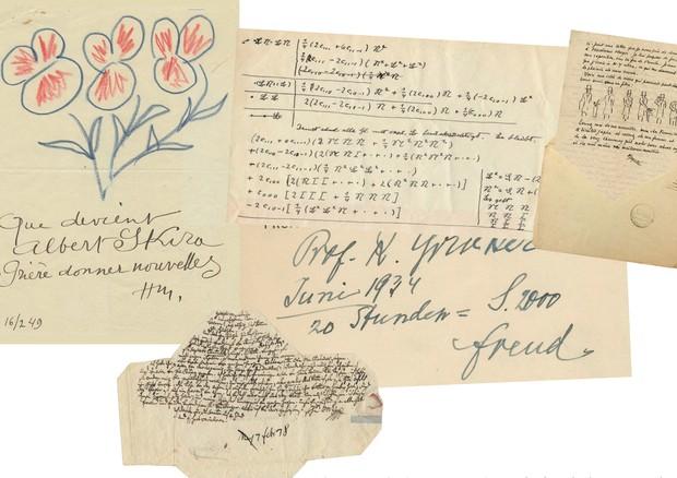 Em sentido horário, a partir da esquerda: manuscritos de Henri Matisse, Albert Einstein, René Magritte, Sigmund Freud e Mozart (Foto: Divulgação/Pedro Corrêa Do Lago)