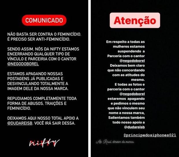Anúncio de marcas sobre Nego do Borel (Foto: Reprodução/Instagram)