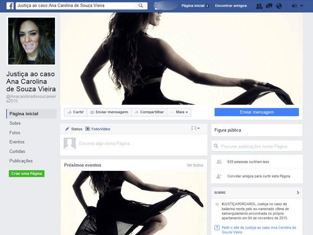 Página no Facebook pede justiça para o caso da dançarina morta pelo ex-namorado (Foto: Reprodução / Facebook)
