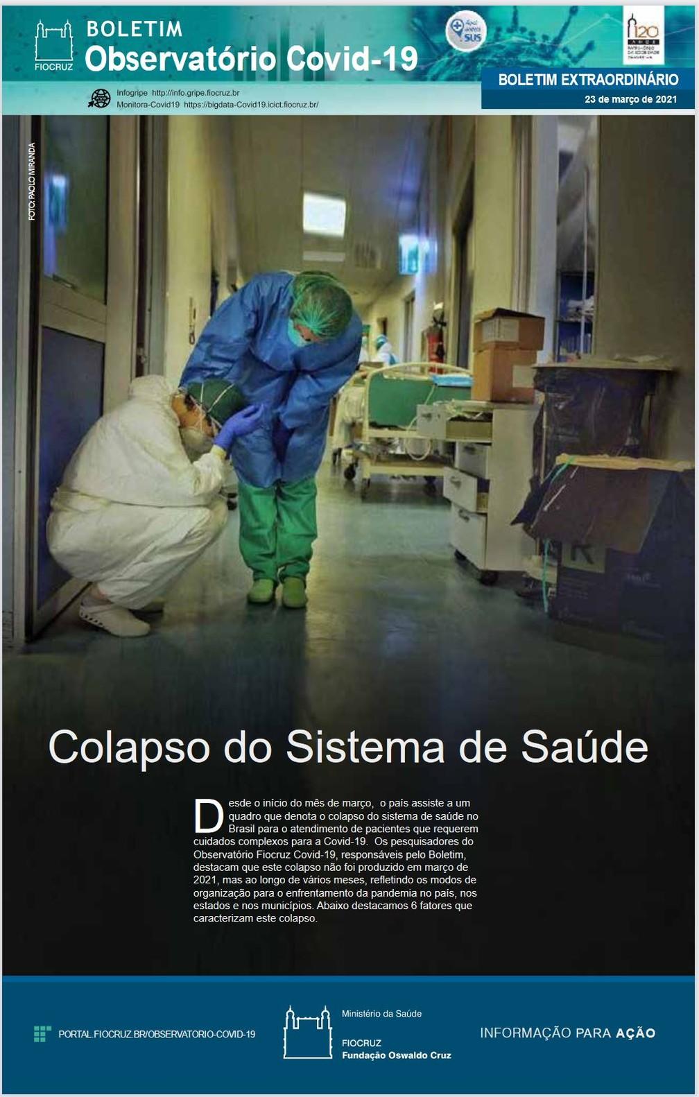 """Boletim da Fiocruz que pede restrição de atividades por 14 dias tem como destaque o """"colapso do sistema de saúde"""" — Foto: Reprodução"""