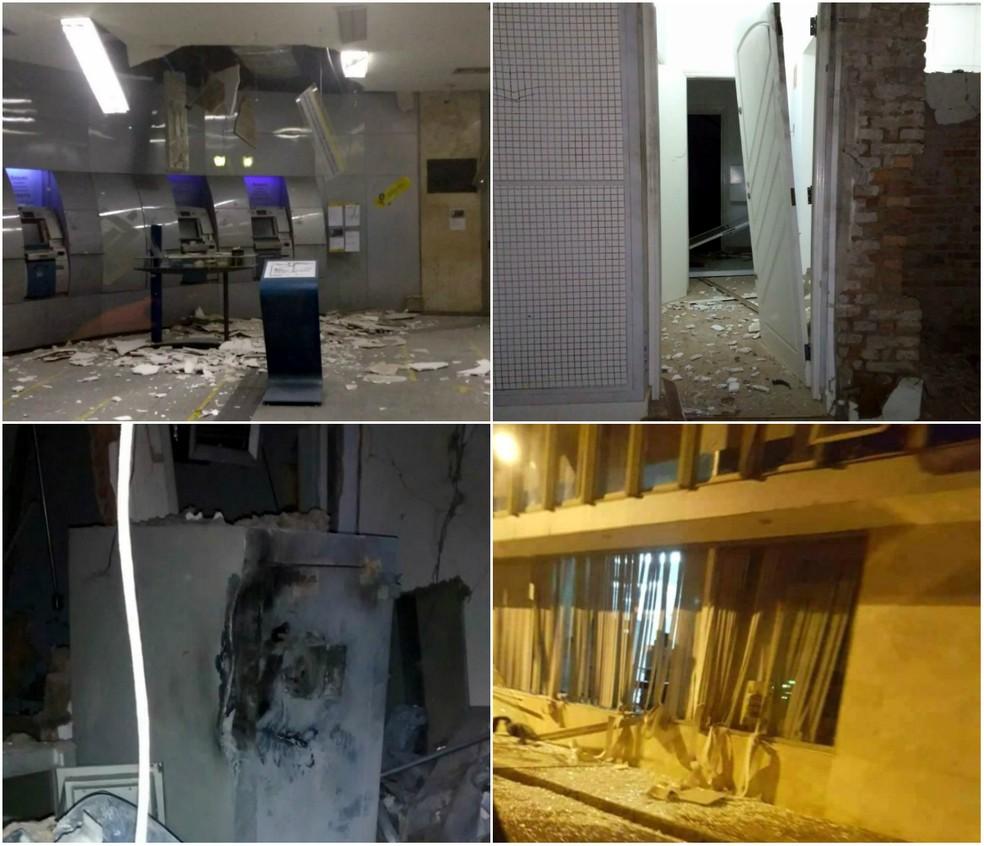 Explosões destruíram o interior da agência em Rio Claro (Foto: Grupo Rio Claro)