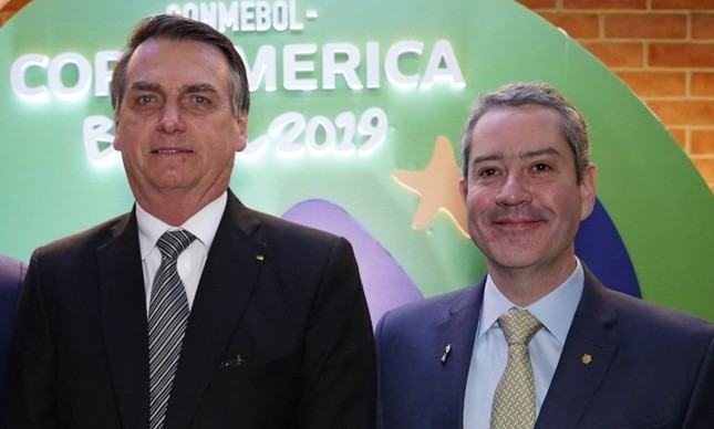 Jair Bolsonaro e Rogério Caboclo durante a Copa América