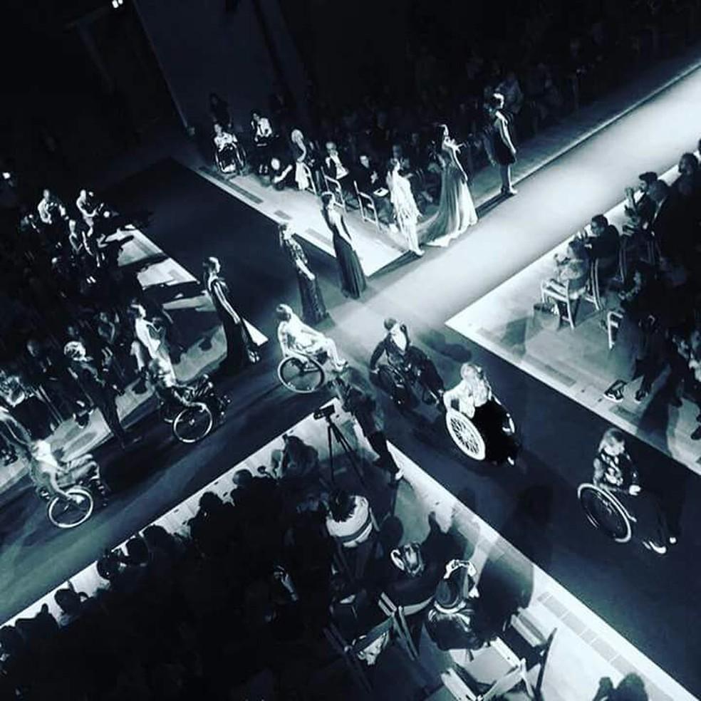 Projeto Modelle Rottelle, pelo qual Natache desfilou em Milão em 2016 (Foto: Reprodução/Arquivo Pessoal)