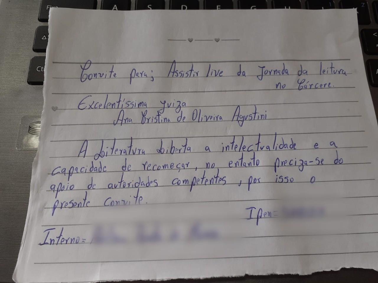 Detento escreve carta e convida juíza para assistirem juntos a evento sobre leitura em presídio de SC
