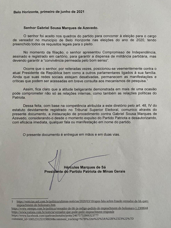 Carta justifica expulsão do vereador Gabriel do Patriota: 'posicionou-se veementemente contra o Presidente da República' — Foto: Reprodução/ Arquivo pessoal