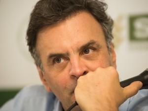 O senador Aécio Neves (PSDB) em visita a Agrishow em Ribeirão Preto, SP (Foto: Érico Andrade/G1)