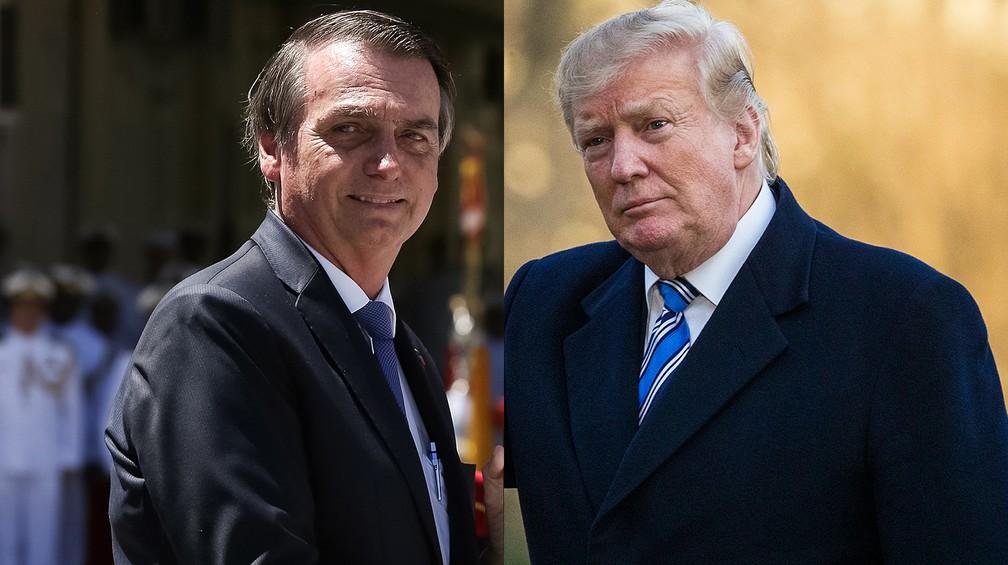 Jair Bolsonaro e Donald Trump — Foto: Marcos Corrêa/Presidência da República e Alex Brandon/AP