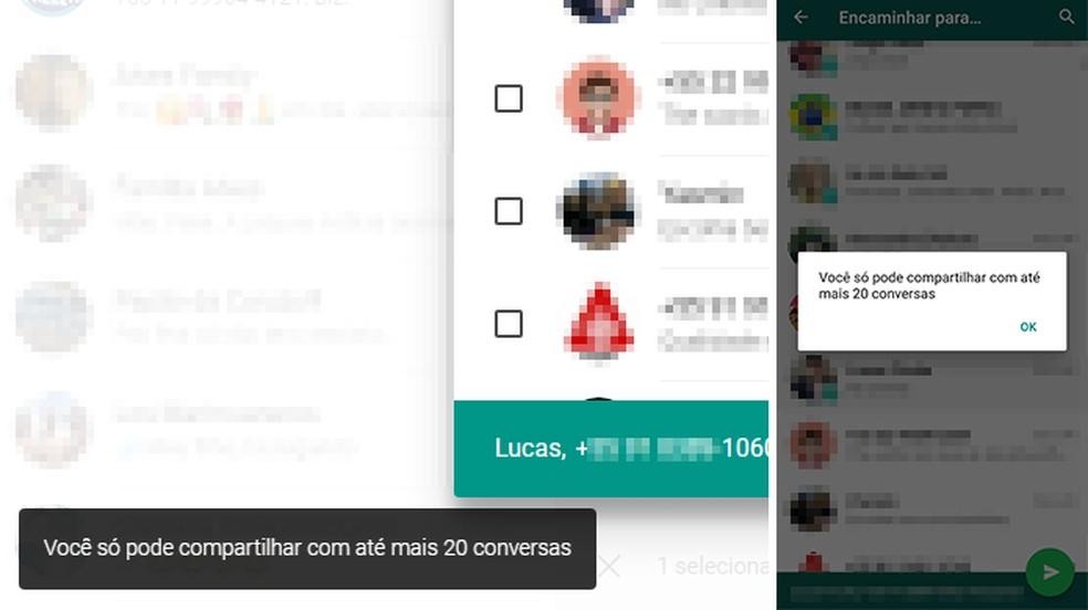 WhatsApp começa a limitar número de encaminhamentos simultâneos — Foto: Reprodução/Paulo Alves