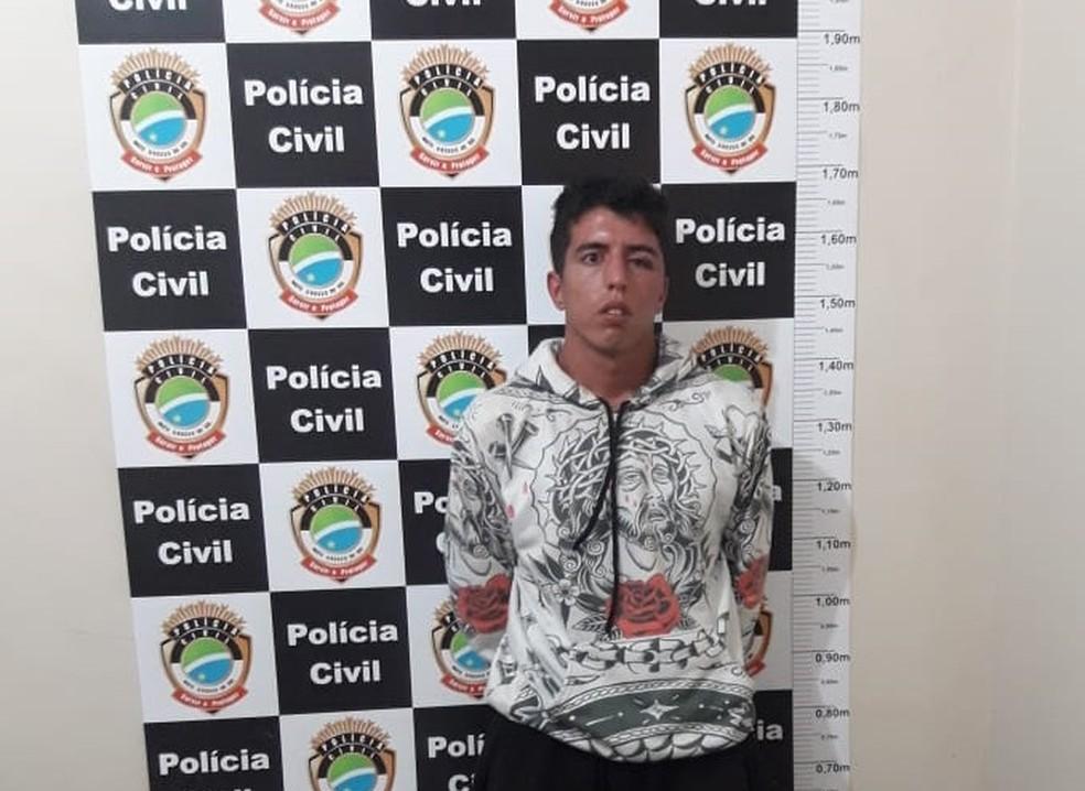 Marcos Fioravanti Neto, suspeito de matar Maiana e a filha, foi preso em flagrante horas depois cometendo furto em cidade vizinha — Foto: Polícia Civil/Divulgação