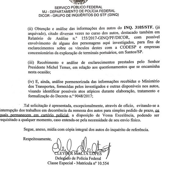 Pedido da PF para compatilhar inquérito antigo contra Michel Temer foi enviado ao STF (Foto: Reprodução)