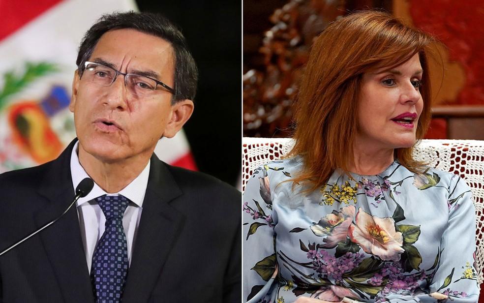Martín Vizcarra e Mercedes Aráoz — Foto: Peruvian Presidency / Andrea Verdelli / via REUTERS