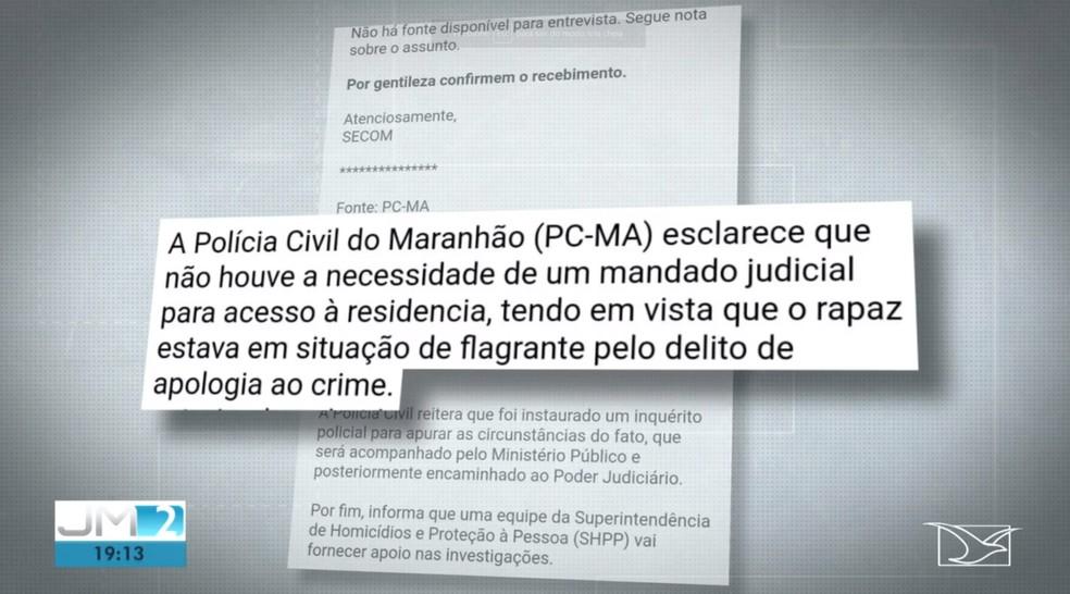 Após a repercussão do caso, a Secretaria de Estado de Segurança Pública (SSP-MA) mudou a versão do crime. — Foto: Reprodução/TV Mirante