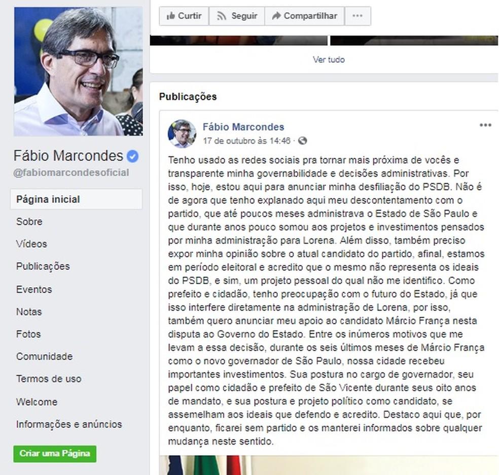 Fábio Macondes criticou o PSDB, partido que era filiado há sete anos — Foto: Reprodução/Facebook