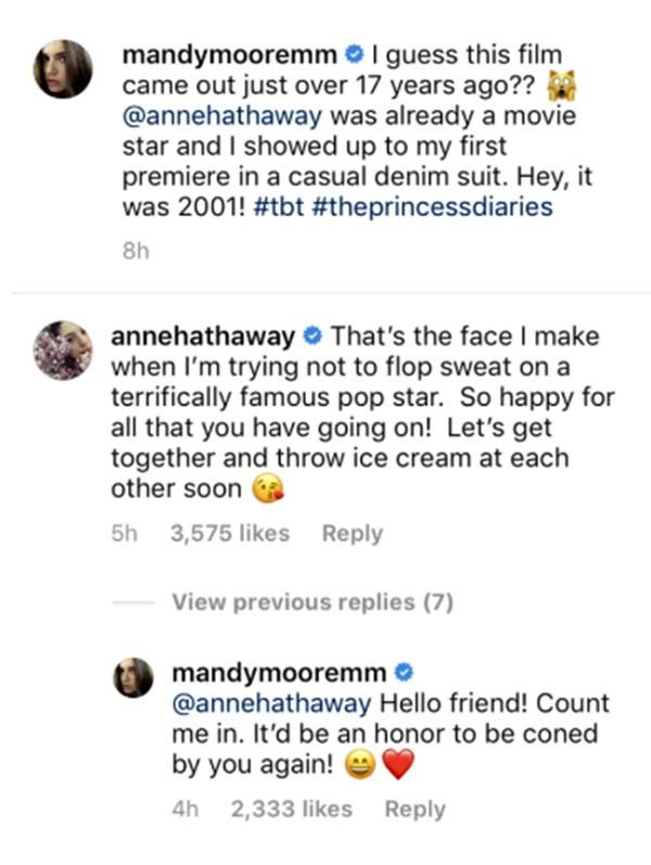 Anne Hathaway e Mandy Moore (Foto: Instagram)