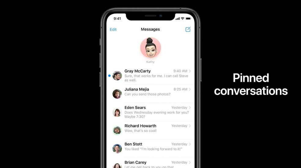 App Mensagens permite fixar até nove conversas no topo da sua lista de contatos — Foto: Reprodução/Apple