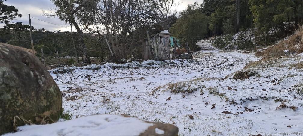Serra catarinense amanhece congelante nesta quinta-feira (29) — Foto: Mycchel Legnaghi/São Joaquim Online