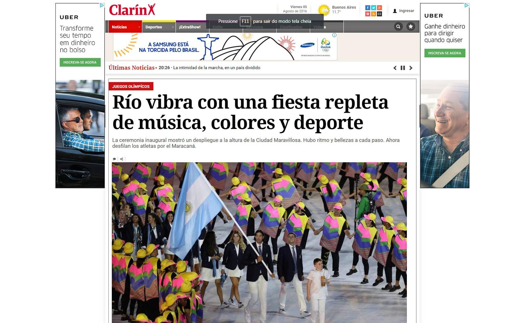 O argentino 'Clarín' elogiou a cerimônia de abertura da Olimpíada do Rio e a cidade anfitriã
