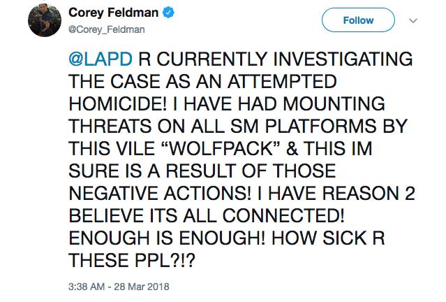 O relato do ator Corey Feldman sobre o ataque que sofreu nas ruas de Los Angeles (Foto: Twitter)