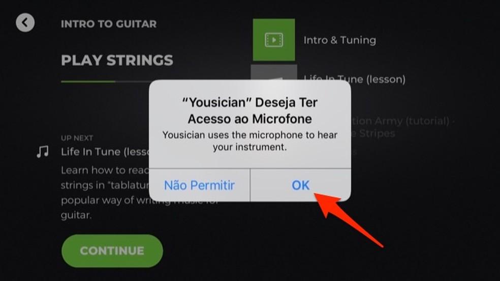 Ação para permitir que o app Yousician use o microfone do celular para captar o som do violão — Foto: Reprodução/Marvin Costa