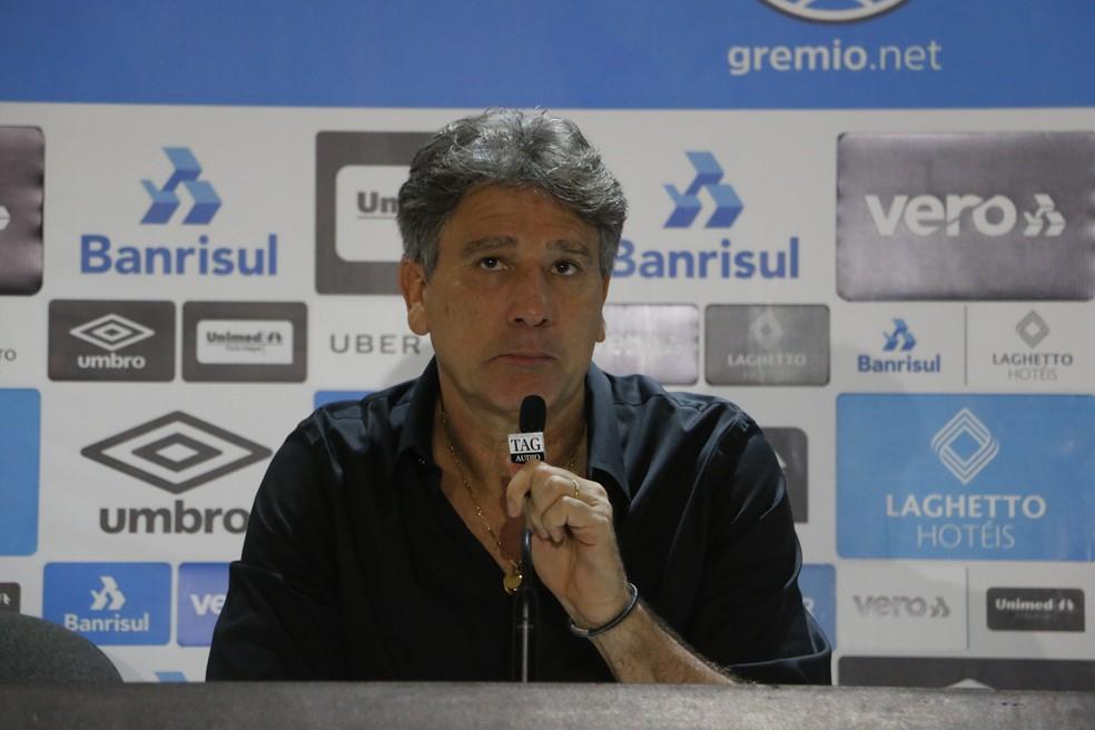 Renato Gaúcho em entrevista coletiva após a derrota do Grêmio — Foto: Eduardo Moura