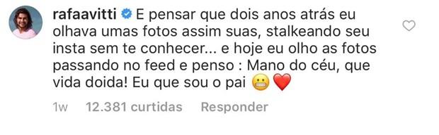 Post de Rafa Vitti para Tatá Werneck (Foto: Reprodução/Instagram)