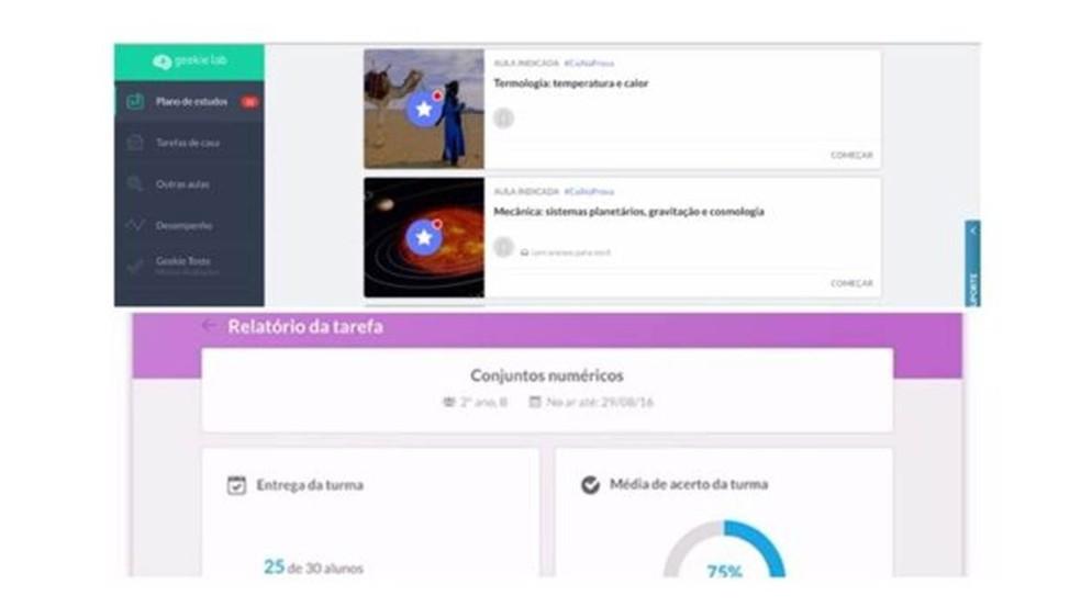 No brasileiro Geekie, alunos veem seu plano de estudos (no alto) e gestores acompanham porcentagem de erros e acertos de cada turma e cada estudante. (Foto: Reprodução/Geekie)