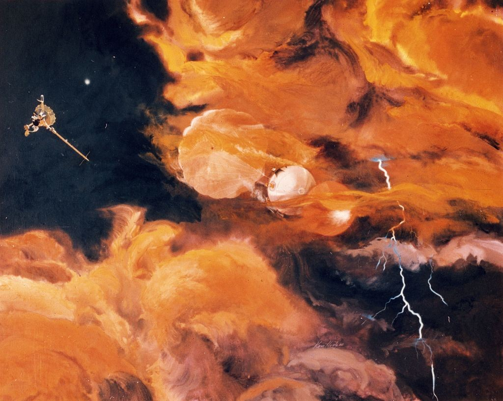 7th December 1995:  The released Galileo probe enters the turbulent upper atmosphere of Jupiter with its heat shield below and a parachute above. It is expected to relay around 75 minutes of information to earth, before it succumbs to the surrounding temp (Foto: Getty Images)