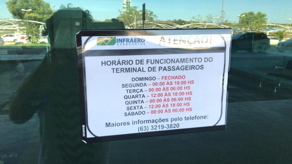 Aeroporto de Palmas passa a ter horários de funcionamento para o terminal de passageiros — Foto: João Guilherme Lobasz/G1