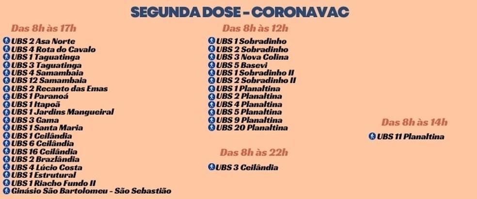 Postos de vacinação para a segunda dose da CoronaVac no DF, nesta segunda-feira (10) — Foto: SES-DF/Reprodução