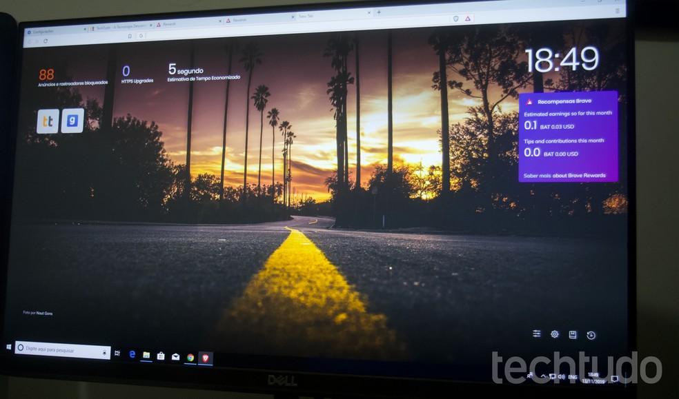 Tutorial mostra como usar o navegador Brave para ganhar dinheiro navegando na web — Foto: Marvin Costa/TechTudo