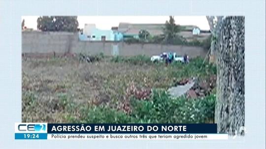 Quatro homens aparecem em vídeo espancando rapaz em Juazeiro do Norte; um agressor foi preso