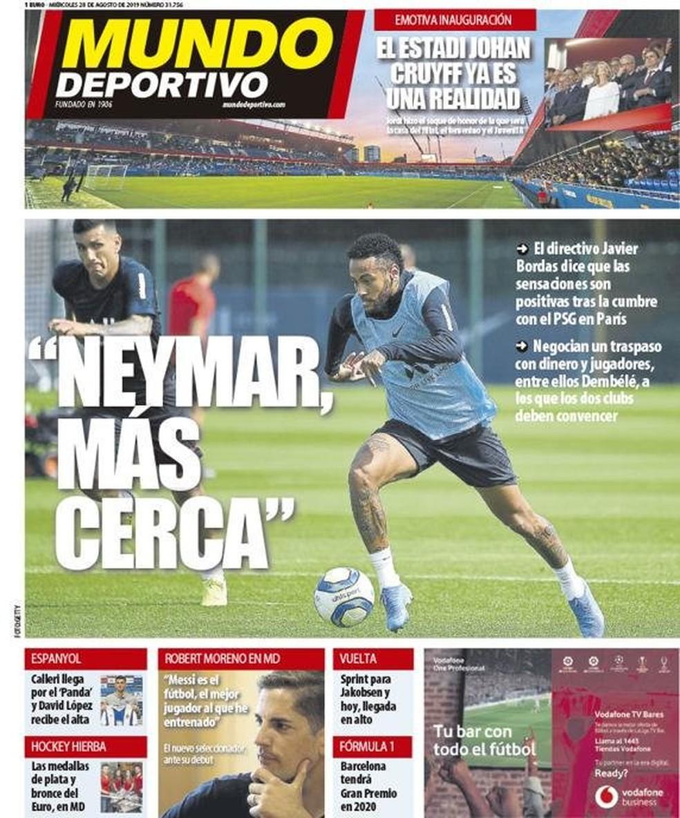Capa do Mundo Deportivo sobre Neymar, Barcelona e Paris Saint-Germain — Foto: Divulgação