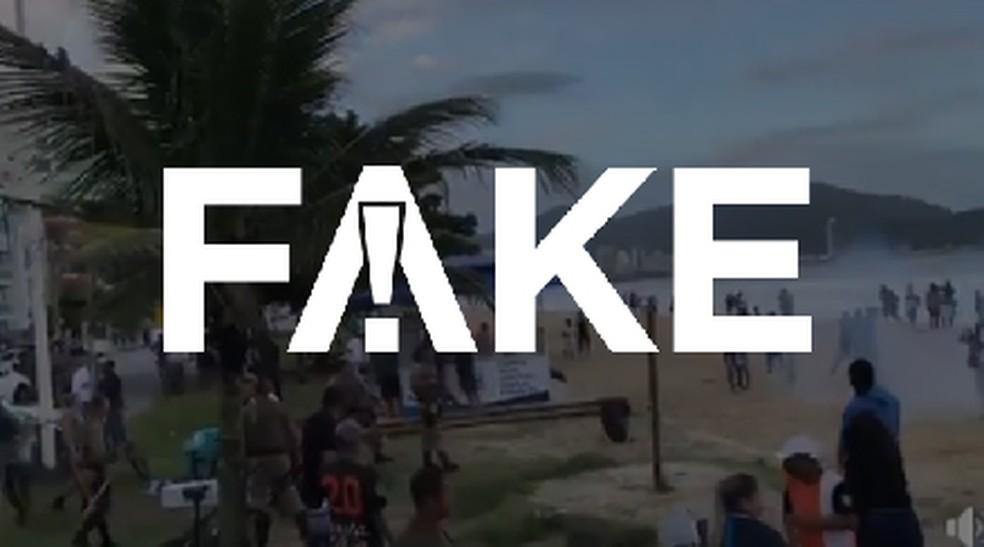 É #FAKE que vídeo de ação da PM em praia de SC tem relação com coronavírus — Foto:  G1