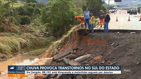 Interdições são registradas no Sul catarinense por causa da chuva