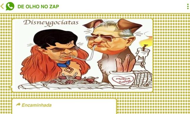 Charge de tom jocoso replicada em diferentes grupos retrata o relator da CPI, Renan Calheiros (MDB-AL), e o vice-presidente da comissão, Randolfe Rodrigues (Rede-AP), como 'a dama e o vagabundo'