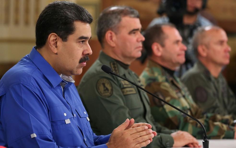 Nicolás Maduro tem o apoio dos principais chefes militares da Venezuela — Foto: Miraflores Palace/Handout via Reuters