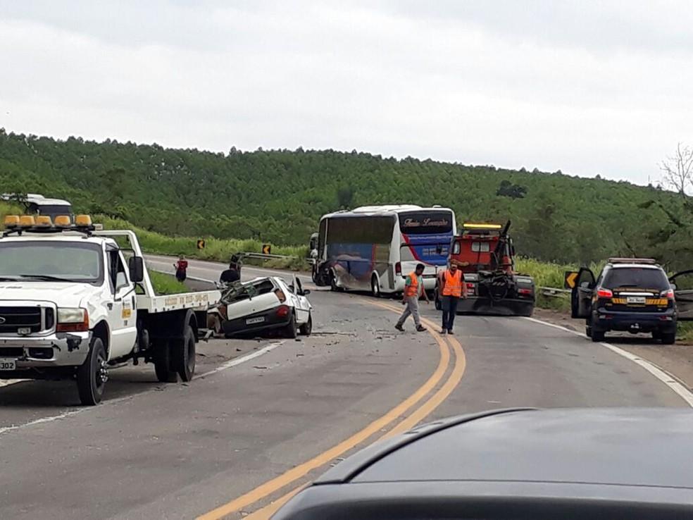 Acidente foi neste trecho da BR-381, em Santana do Paraíso (Foto: Lissitony Rodrigues / Arquivo Pessoal)