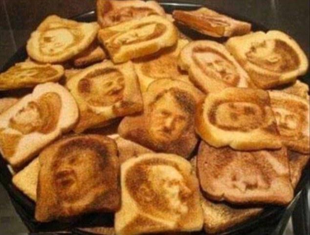 O rosto de Hitler em fatias de pão tostadas
