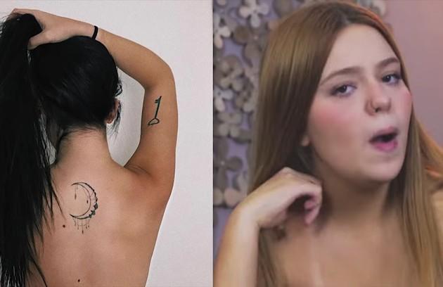 Nas costas, ela desenhou uma lua (Foto: Reprodução)
