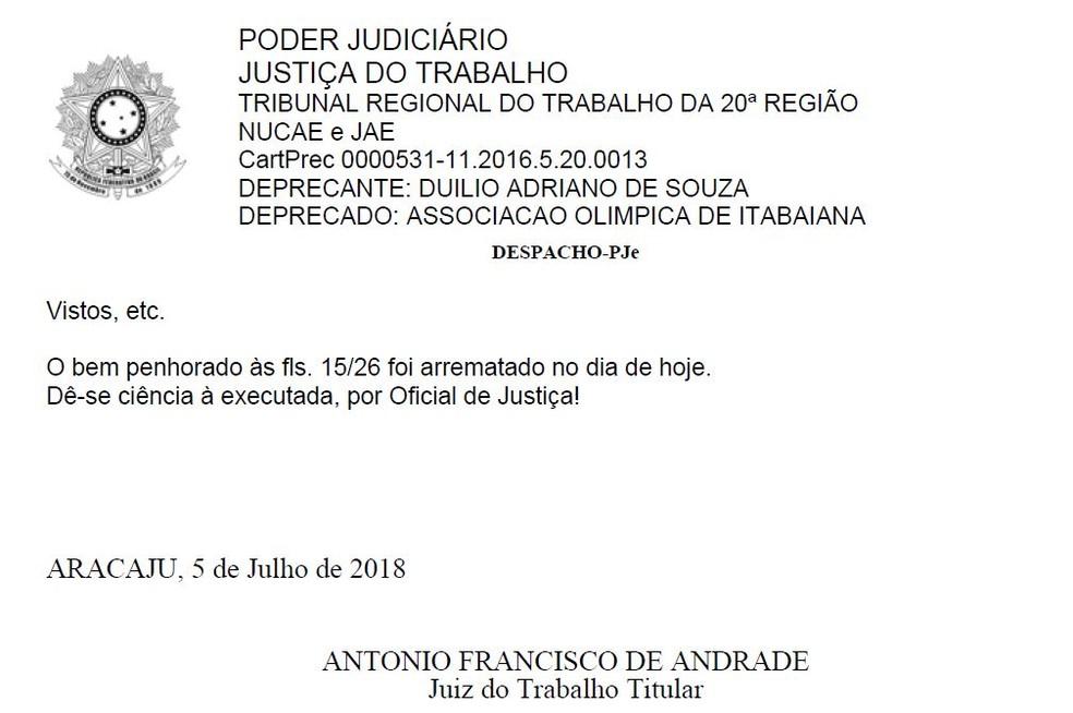 Juiz informa que CT do Itabaiana foi arrematado nesta quinta-feira (Foto: Reprodução/TRT-SE)