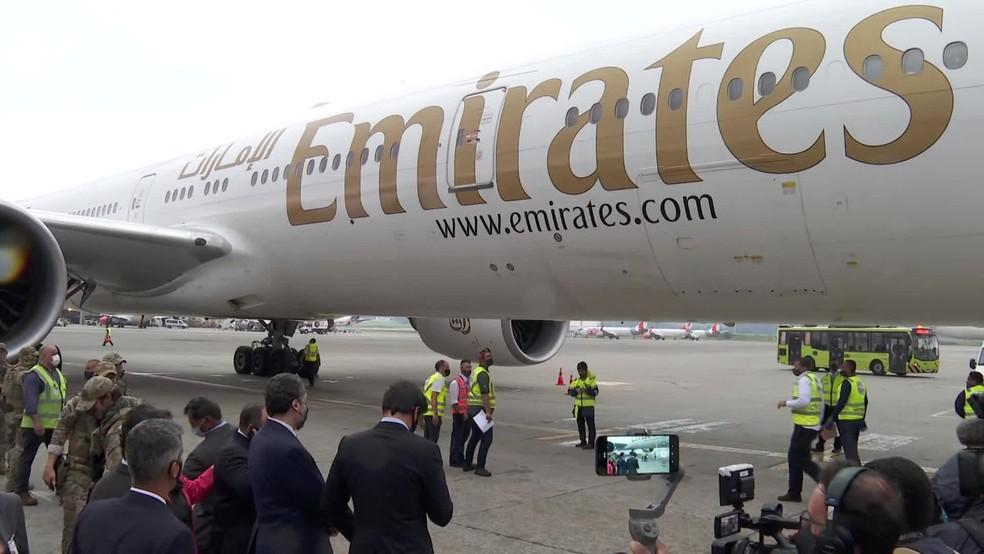 Avião com 2 milhões de doses da vacina de Oxford chega a São Paulo nesta sexta-feira (22). — Foto: Reprodução/TV Globo