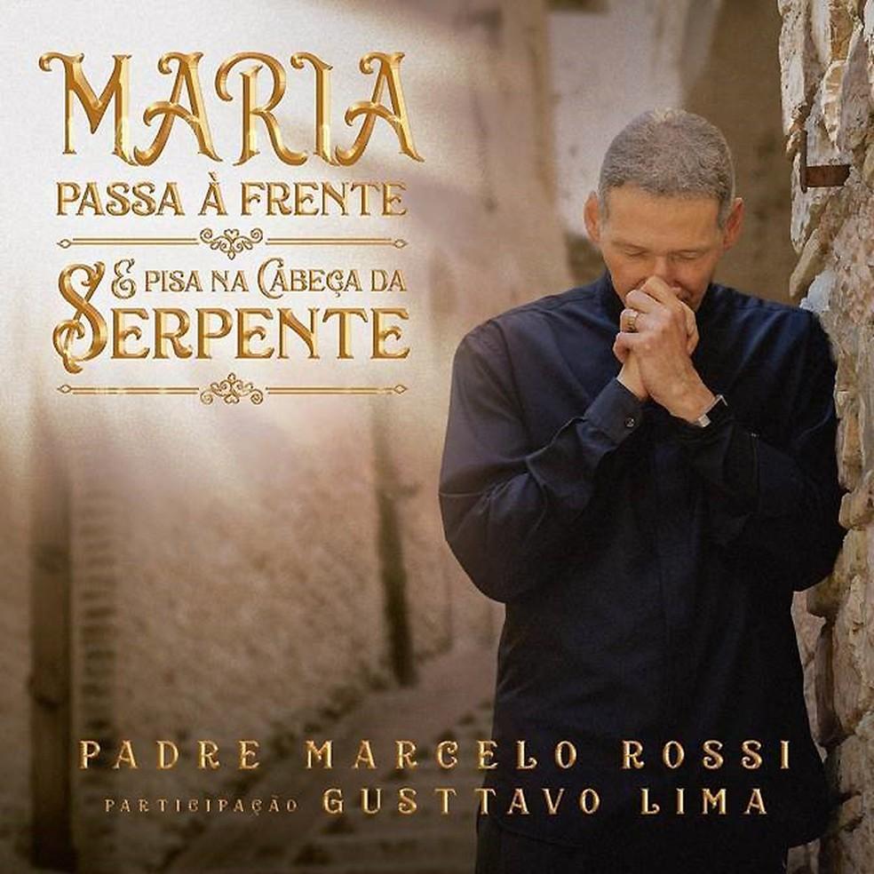Capa do single 'Maria passa à frente & pisa na cabeça da serpente', de padre Marcelo Rossi com Gusttavo Lima — Foto: Divulgação