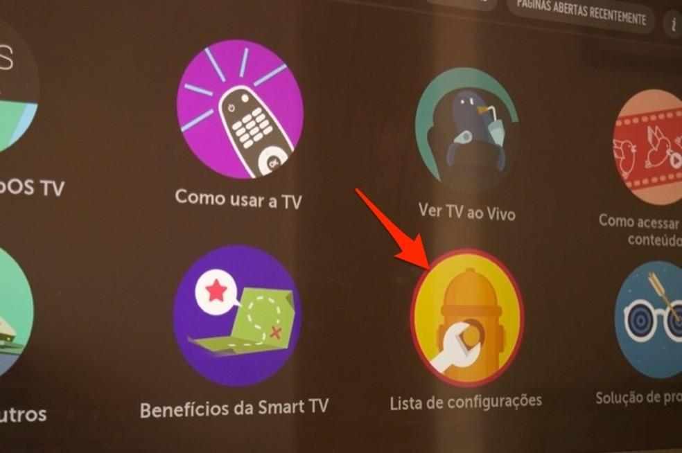 Ação para acessar a lista de configurações de uma smart TV da LG — Foto: Reprodução/Marvin Costa