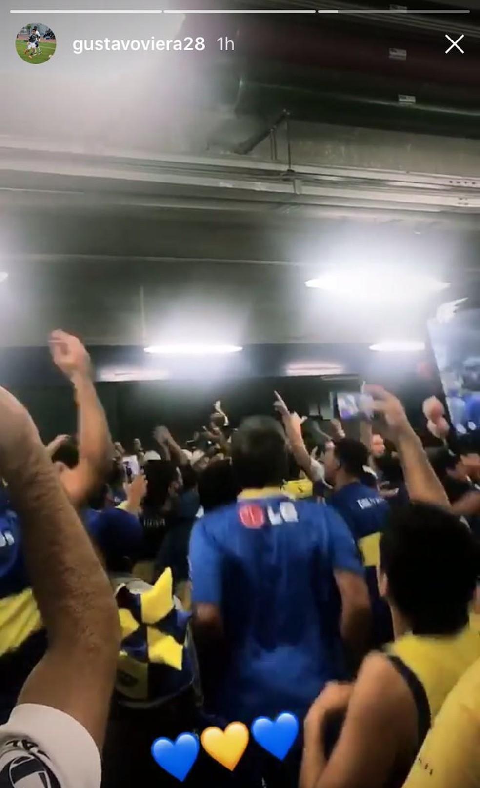 Gustavo Viera, do Corinthians, apoiou o Boca Juniores contra o Palmeiras (Foto: Reprodução)