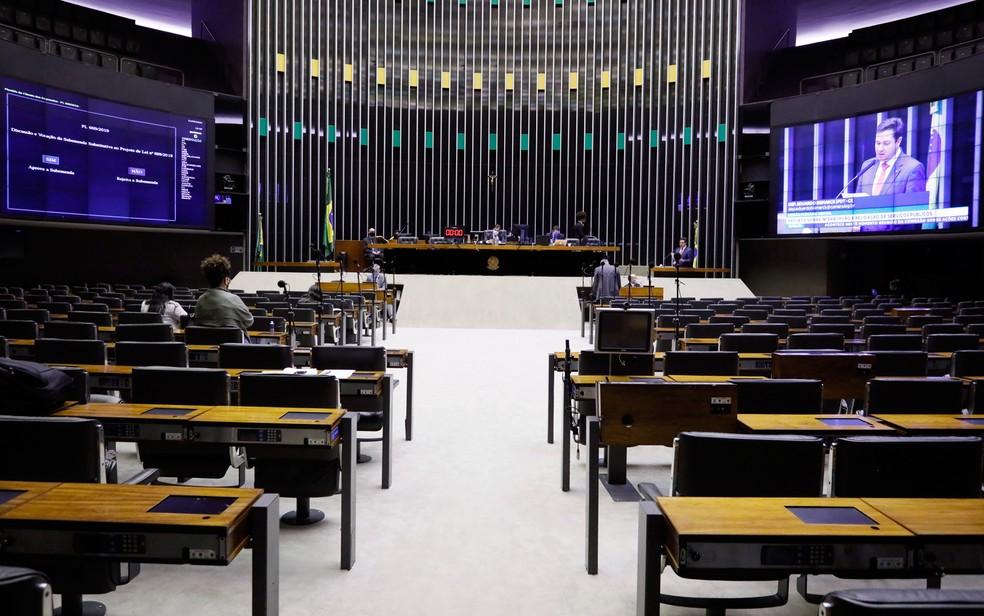 Plenário da Câmara vazio durante sessão — Foto: Maryanna Oliveira / Câmara dos Deputados