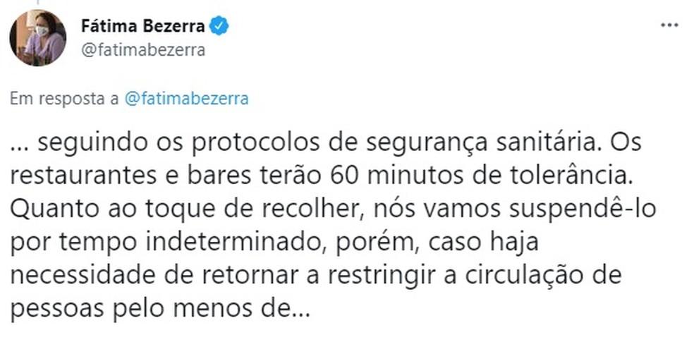 Fátima Bezerra anunciou medidas de flexibilização — Foto: Divulgação