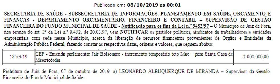 Documento foi publicado no Ato do Governo nesta terça-feira (8) em Juiz de Fora — Foto: PJF/Reprodução